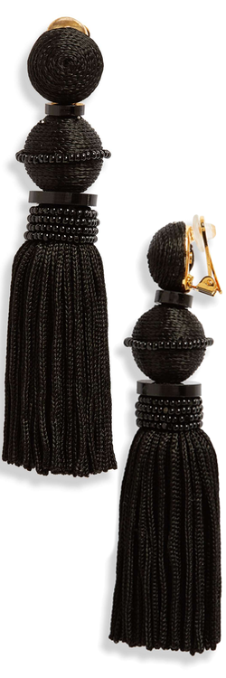 Oscar de la Renta Clip Tassel Drop Earrings