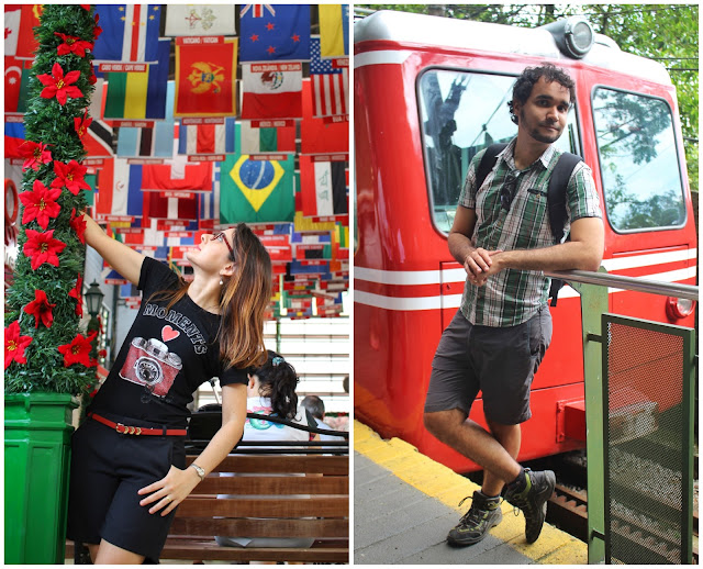 À esquerda, Liliam na entrada do Trem do Corcovado - várias bandeiras de inúmeros países. À direita, o Trem do Corcovado em si.