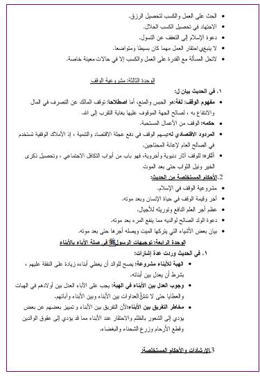 ملخصات دروس التربية الاسلامية للسنة الثالثة ثانوي