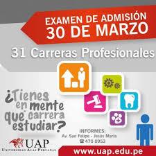 Inscripción examen de admisión UAP 2016-I 30 de marzo