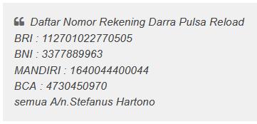 SIAPAKAH STEFANUS HARTONO ADALAH PEMILIK NOMOR REKENING DARRA RELOAD