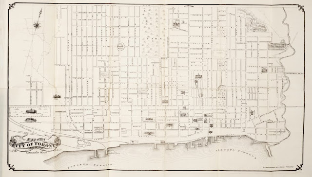 Map of the City of Toronto, Canada West, 1858. Lithography by John Ellis.