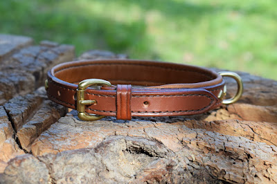 Padded collar for dachshund with diamond-shaped brass studs made to measure and hand stitched