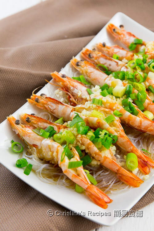 蒜蓉粉絲蒸蝦 【簡易又鮮美 Video】Steamed Garlic Prawns with Vermicelli Noodles