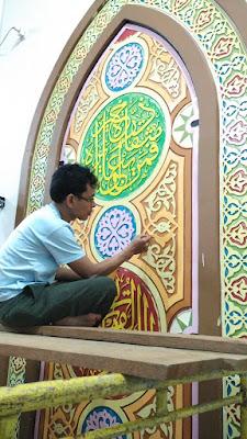 Jasa pembuatan kaligrafi masjid pekanbaru, dekorasi masjid, kaligrafi timbul