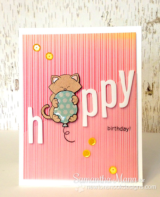 Birthday Cat Card by Samantha Man for Newton's Nook Designs Inky Paws Challenge