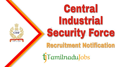 CISF Recruitment notification 2019, govt jobs for 12th pass