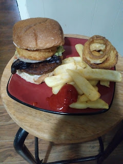 So love Vegan Burgers, with onion rings and fries.  Made with compassion and healthy is a bonus