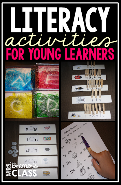 Literacy Activities for Kindergarten- lots of ideas for centers!