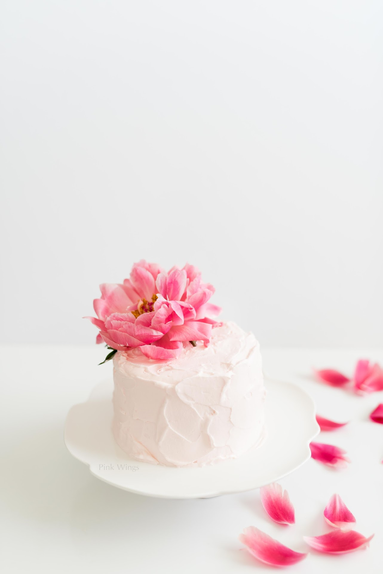 pink flower birthday cake, small wedding cake idea, mini cake recipe, pink birthday cake recipe, small smash cake, pink layered cake recipe, girl birthday party ideas, peony cake, strawberry cake, light summer cake ideas, recipe, cream cheese whipped cream, marscapone