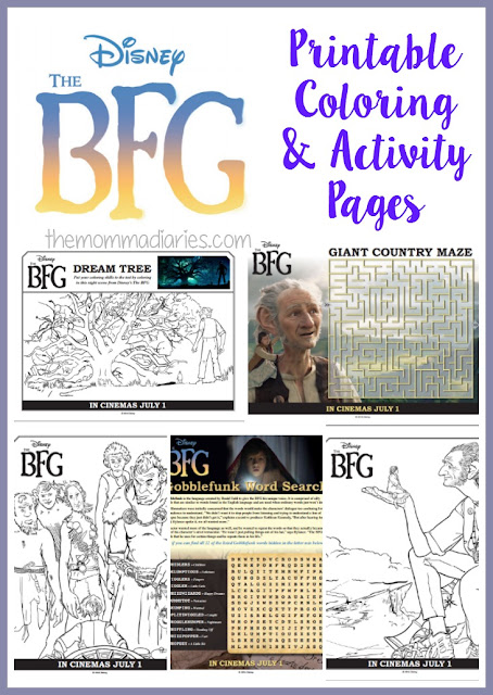 The BFG Printable Coloring and Activity Pages, #TheBFG, The BFG Free Printables