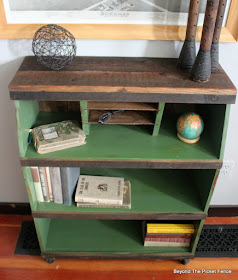 add barn wood and pallet wood to an old bookshelf for a rustic industrial look