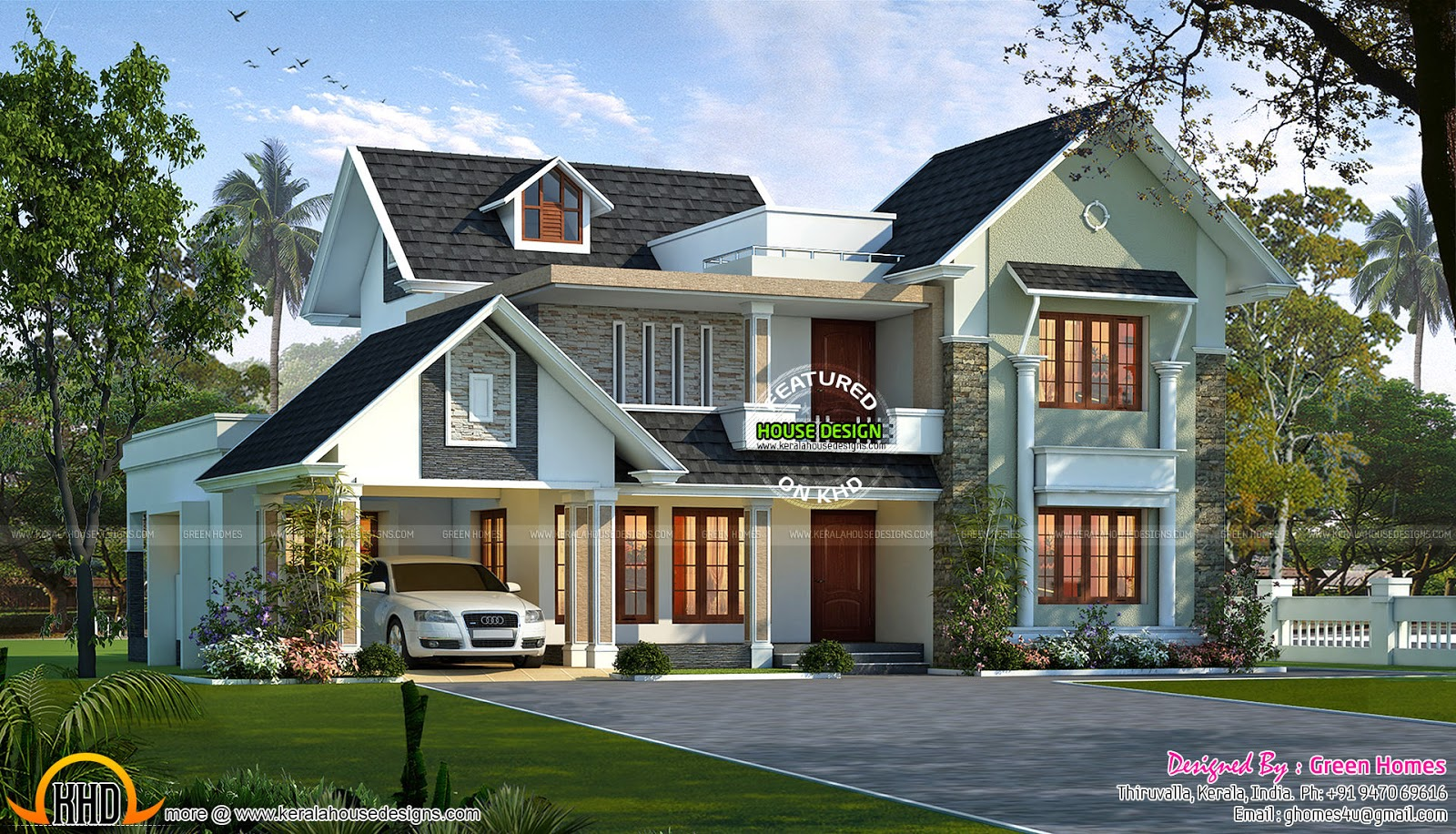 Stylish sloping roof villa in 278 sq m kerala home for Colonial style home design in kerala