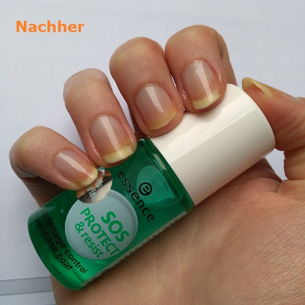 essence SOS Protect & Resist damage control base coat nachher