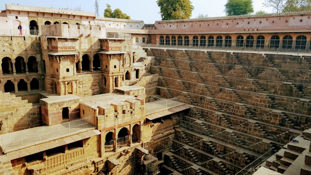 The steps and pavilion inside the Chand Baori stepwell