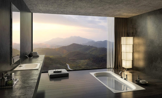 By sinking the bath tub to the floor, the view will be more amazing.