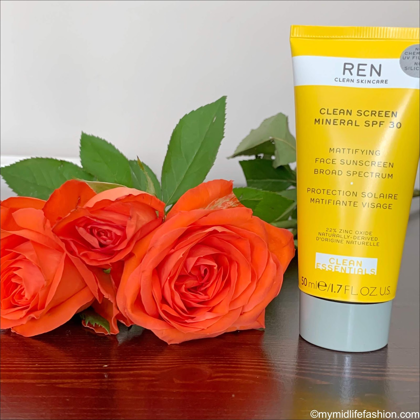 my midlife fashion, ren skincare clean screen mineral spf30 face