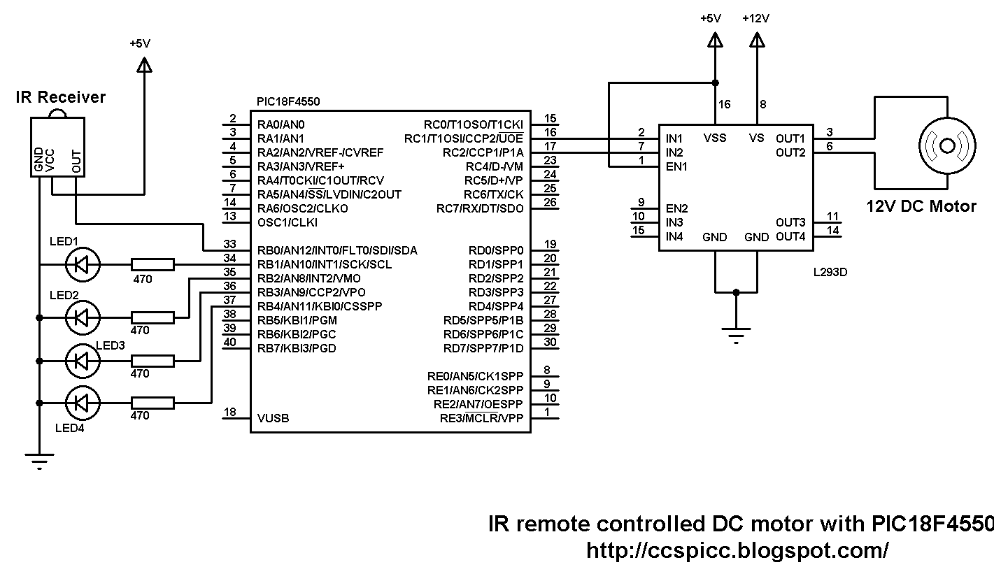 ir remote controlled dc motor with pic18f4550 and ccs pic c