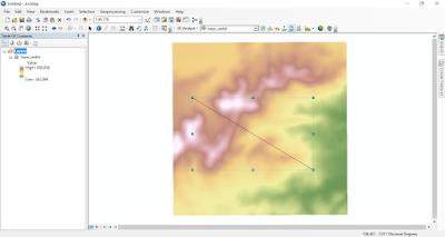 Pembuatan garis penampang melintang dengan tools Interpolate Line