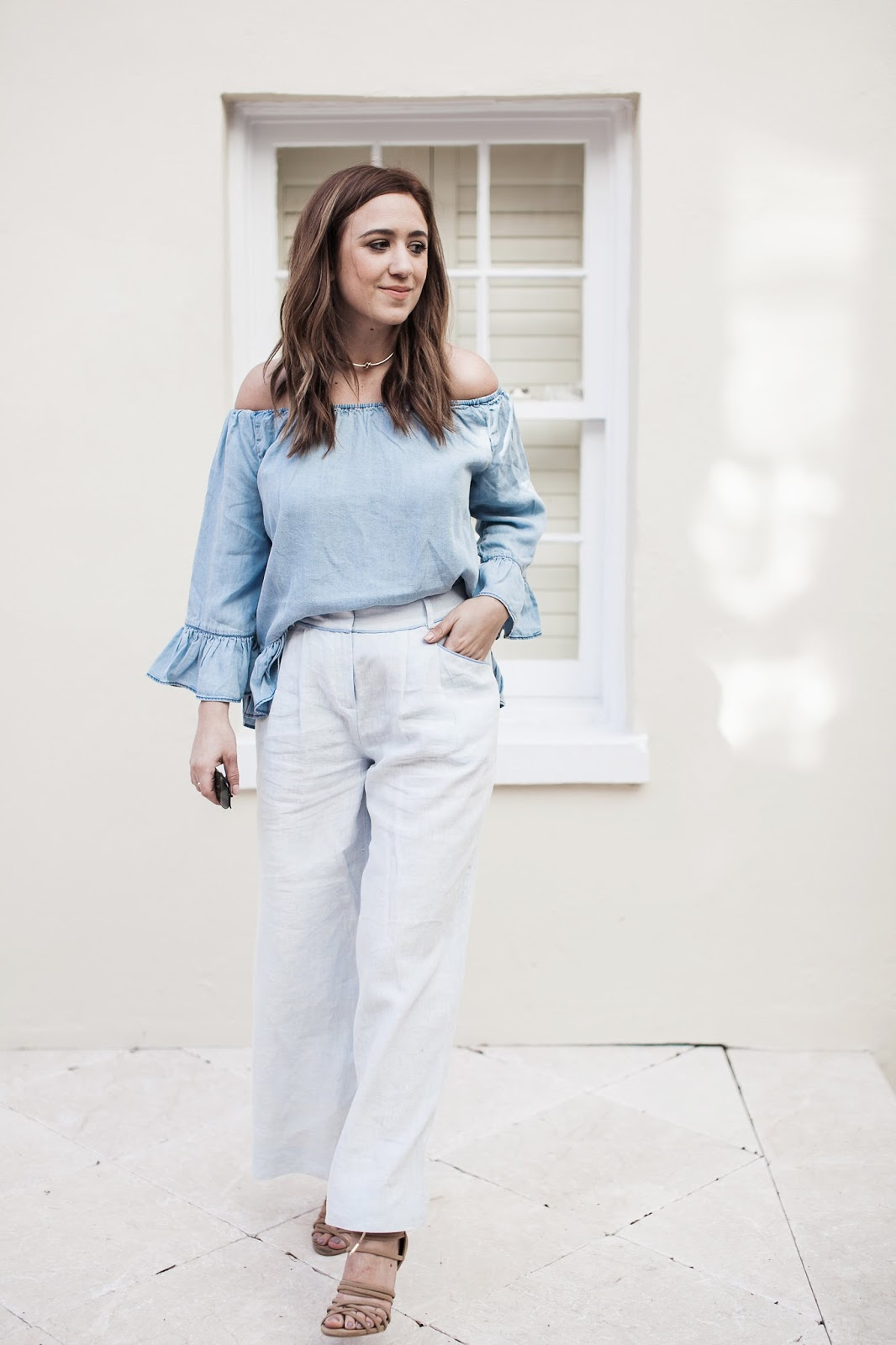 blogger, outfit, coachella, festival, inspiration, off the shoulder, top, sanctuary clothing, lafayette 148, blue, linen, lace up heels, coachella essentials, packing list, music festival