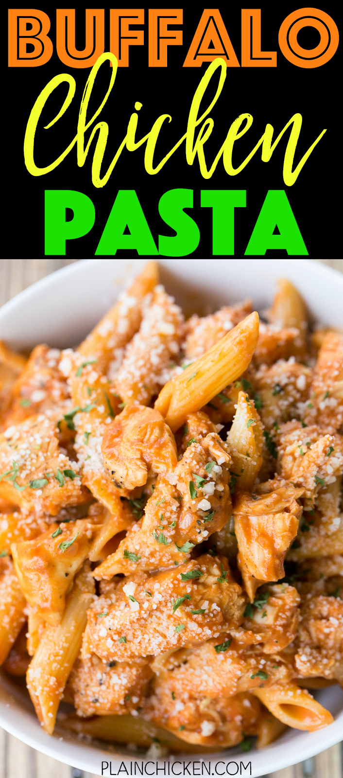 Buffalo Chicken Pasta - ready in under 20 minutes! SO simple and SO delicious! Great weeknight pasta recipe! Chicken and penne pasta tossed in tomato sauce, wing sauce, shallots, garlic, worcestershire and heavy cream. Top with some grated Parmesan cheese. Everyone cleaned their plates!