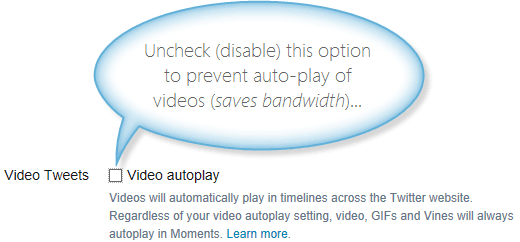 Twitter video auto-play setting