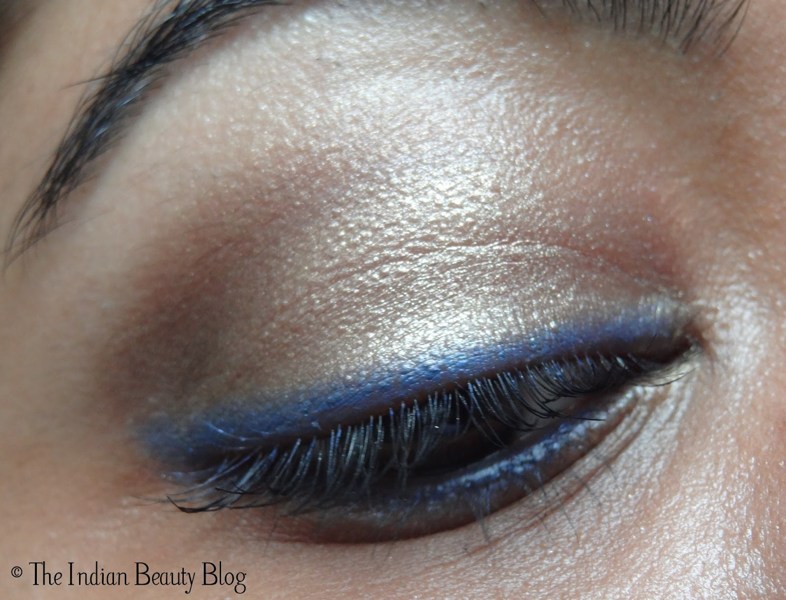 Copper-brown eye make-up with blue eyeliner and kohl: make ... - photo#13