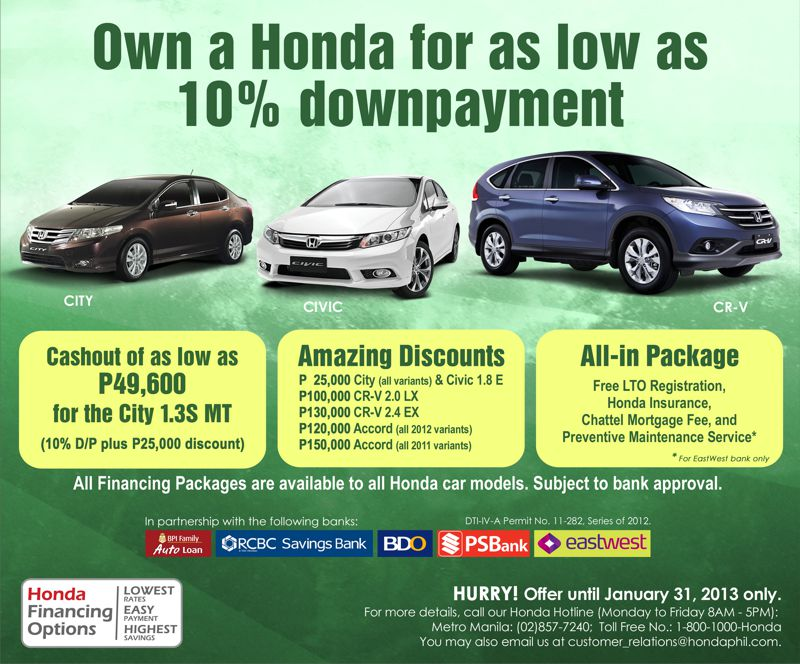 Honda Offers New Year Treats Philippine Car News Car Reviews
