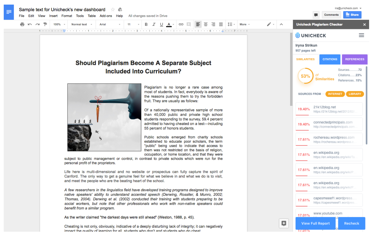 Advanced Similarity Checker Addon For Google Docs By Unicheck - Google docs for personal use