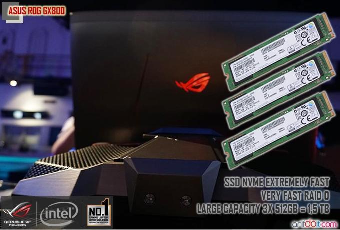ASUS ROG GX800 sudah dilengkapi dengan salah satu SSD tercepat abad ini yaitu Samsung SM951 yang merupakan SSD dengan fitur NVMe