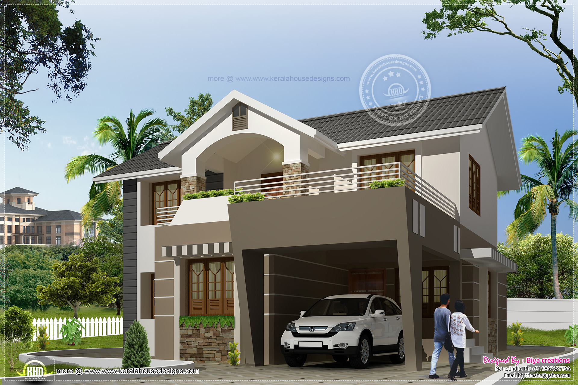 2050 modern exterior home kerala home design and for Indian small house design 2 bedroom