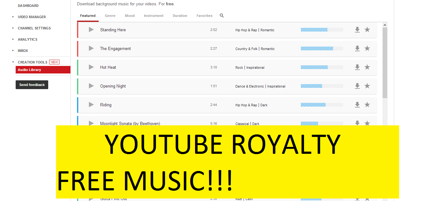 YouTube Creation Tools Audio Library Royalty Free Music