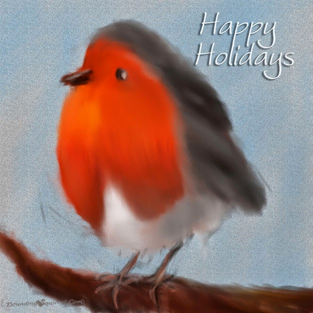 Happy Holidays Painted Robin Ecard