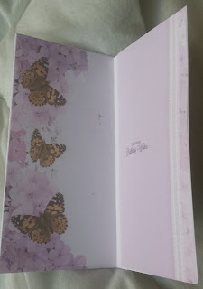 Happy birthday dragonfly with flower white DL card insert