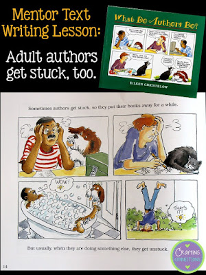 "Looking for a mentor text to use in a writing lesson for upper elementary students? This text can be used as a foundation to stress tons of truths about how ""real"" authors write. Includes a free printable!"