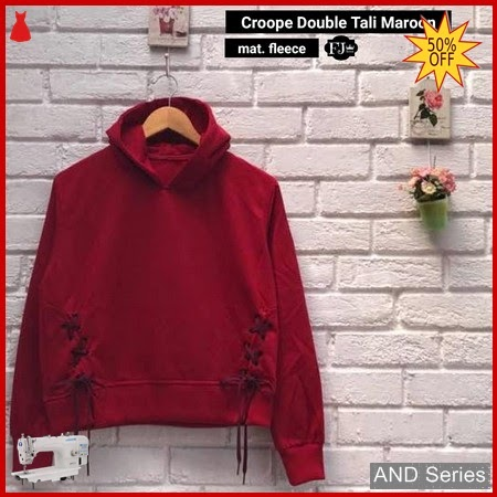 AND323 Sweater Wanita Crop Hoodie Double Tali BMGShop