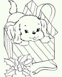 Cute Puppies In A Present Coloring Pages Online