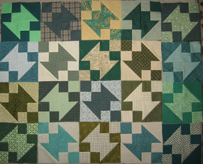 Buckeye Beauty quilt blocks in green