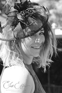 Horse Racing Race Day Outfit Hair fascinator Girl Female Black & White Photography