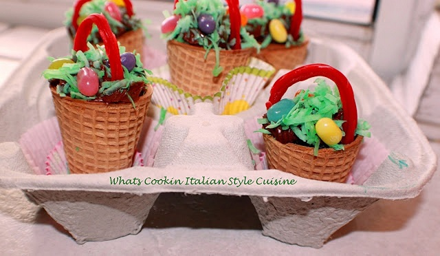 ice cream cone Easter Baskets decorated with candy, coconut and frosting