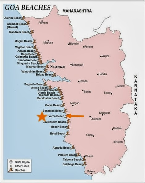 Detail Varca Beach Goa India Location Map