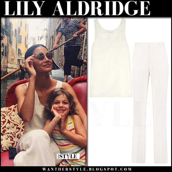 Lily Aldridge in white silk top and white silk pants chloe what she wore june 30 2017 summer style