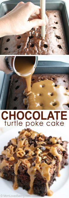CHOCOLATE TURTLE POKE CAKE #chocolate #turtle #poke #cake #cakerecipes #dessert #dessertrecipes