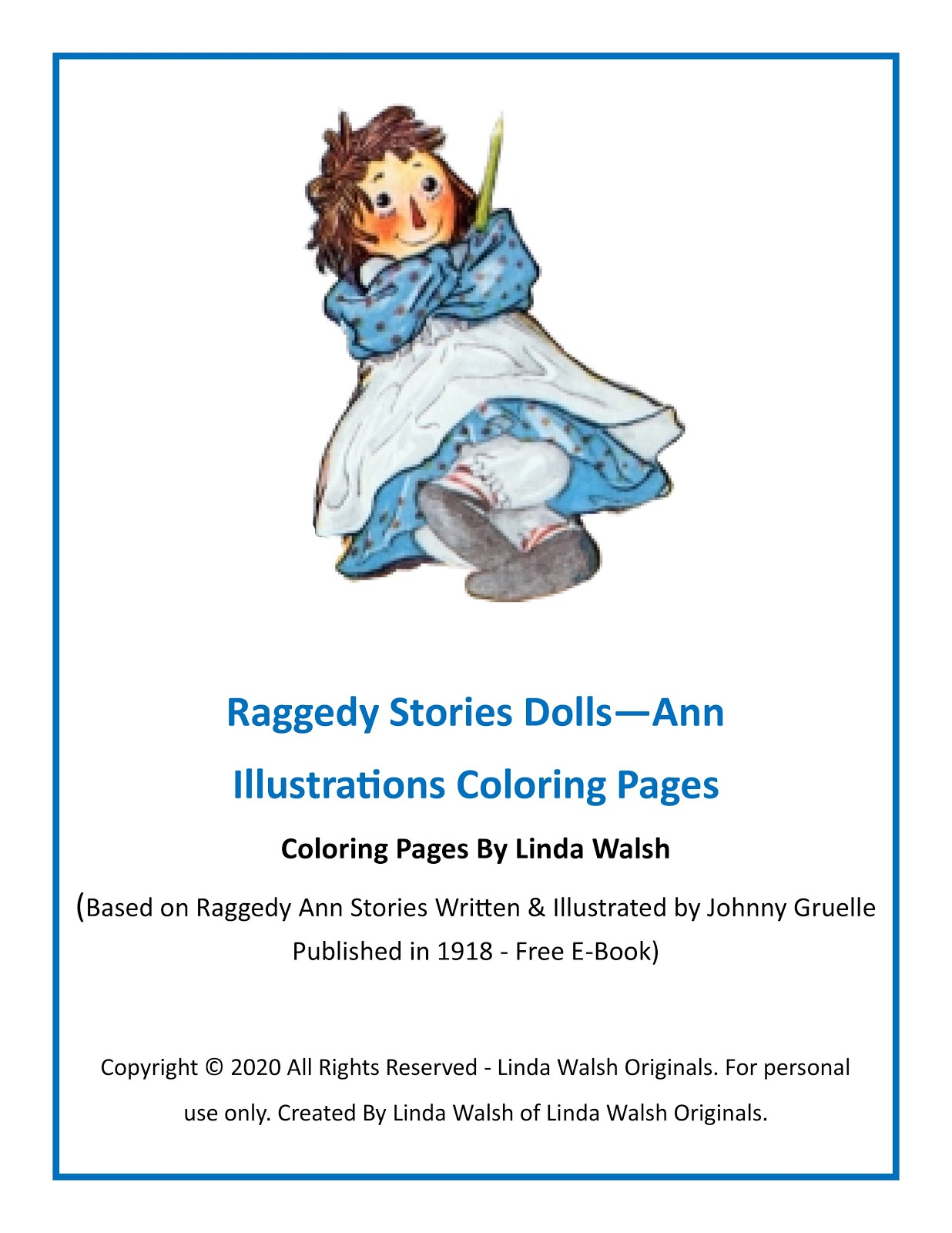 Raggedy Stories Dolls - Ann Illustrations Coloring Pages Free E-Book