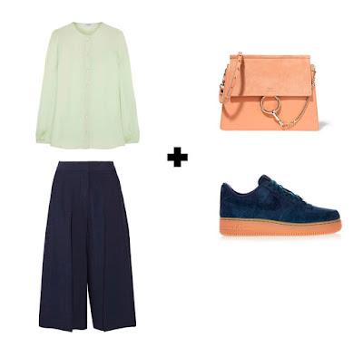 Мятная блузка с синими кюлотами, синими кроссовками и нейтральной сумкой