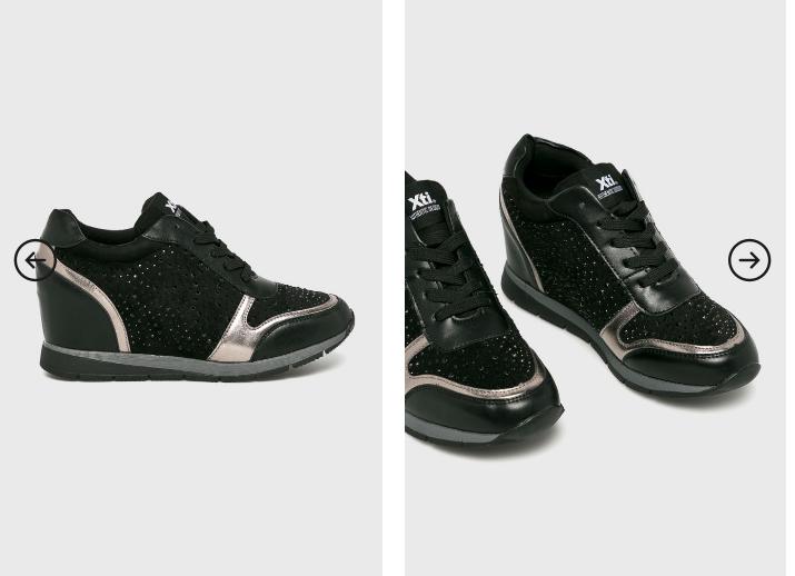 XTI - Pantofi dama cu platforma ascunsa negre moderne