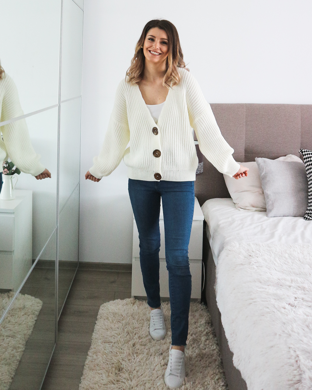 statement buttons cardigan outfit