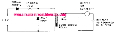 Simple Power Failure Alarm Circuit Diagram