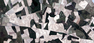 Spain fields from the air, artistic representation of human labor camps bird's eye view, abstract photograph of the Spain fields from the air, which mimic an abstract painting