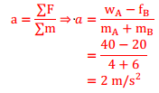 Menghitung percepatan dua benda yang dihubungkan katrol